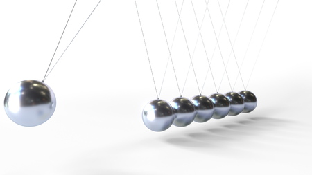 Swinging metal spheres of Newtons cradle. Physics related 3D rendering Stock Photo