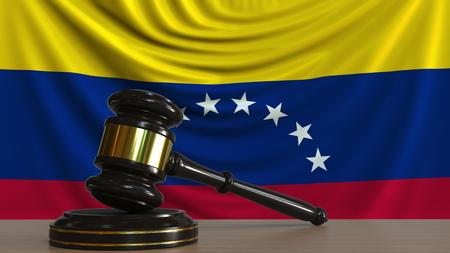 Judges gavel and block against the flag of Venezuela. Venezuelan court conceptual 3D rendering