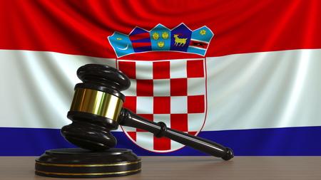 Judges gavel and block against the flag of Croatia. Croatian court conceptual 3D rendering