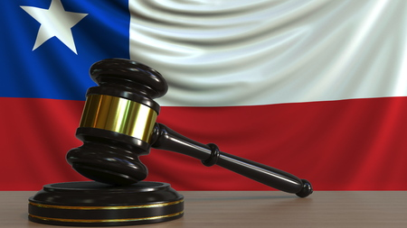 Judges gavel and block against the flag of Chile. Chilean court conceptual 3D rendering
