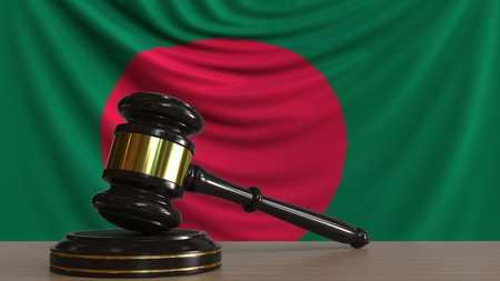 Judges gavel and block against the flag of Bangladesh. Bangladeshi court conceptual 3D rendering