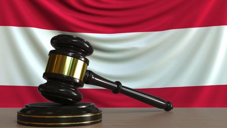 Judges gavel and block against the flag of Austria. Austrian court conceptual 3D rendering