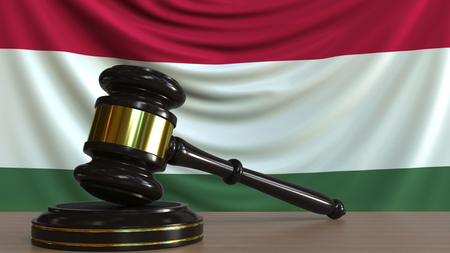 Judges gavel and block against the flag of Hungary. Hungarian court conceptual 3D rendering