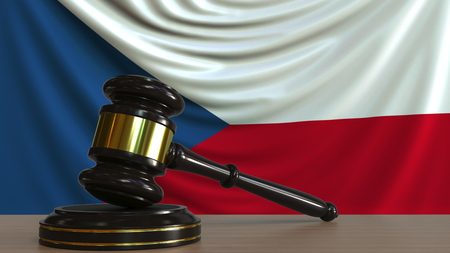 Judges gavel and block against the flag of the Czech Republic. National court conceptual 3D rendering