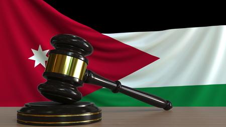 Judges gavel and block against the flag of Jordan. Jordanian court conceptual 3D rendering Imagens