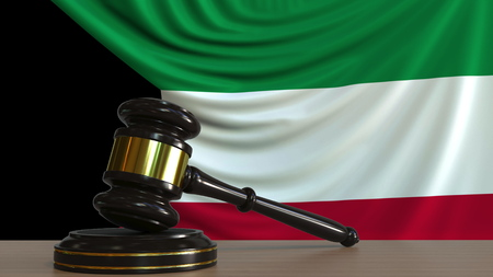 Judges gavel and block against the flag of Kuwait. Kuwaiti court conceptual 3D rendering