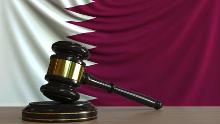 Judges gavel and block against the flag of Qatar. Qatari court conceptual 3D rendering