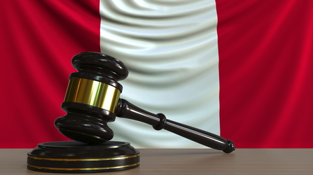 Judges gavel and block against the flag of Peru. Peruvian court conceptual 3D rendering Imagens