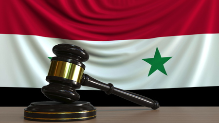 Judges gavel and block against the flag of Syria. Syrian court conceptual 3D rendering