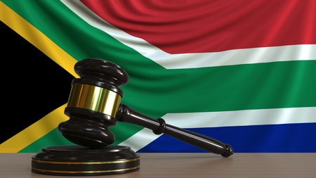 Judges gavel and block against the flag of South Africa. Court conceptual 3D rendering