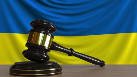Judges gavel and block against the flag of Ukraine. Ukrainian court conceptual 3D rendering