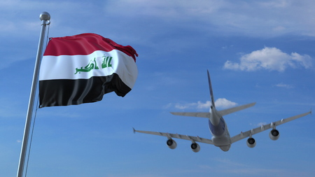 Commercial airplane landing behind waving Iraqi flag. Travel to Iraq conceptual 3D rendering
