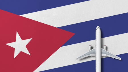 Top-down view of the airplane on the flag of Cuba. Tourism related conceptual 3D rendering 写真素材