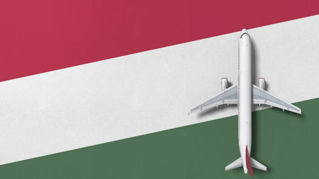Airplane on the flag of Hungary. Flights related conceptual 3D rendering