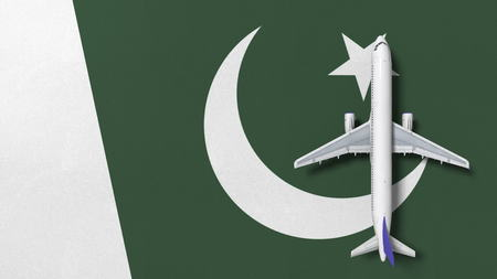 Commercial airplane on the flag of Pakistan. Travel related conceptual 3D rendering