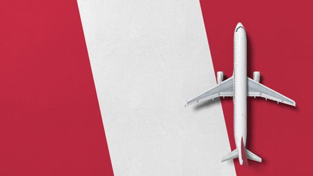 Commercial airplane on the flag of Peru. Travel related conceptual 3D rendering