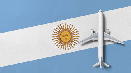 Top-down view of the airplane on the flag of Argentina. Tourism related conceptual 3D rendering