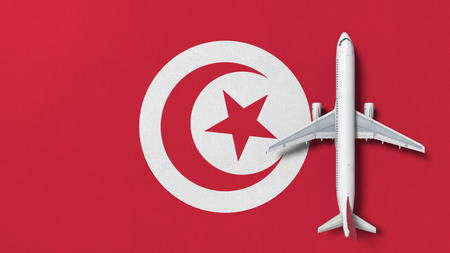 Top-down view of the airplane on the flag of Tunisia. Tourism related conceptual 3D rendering