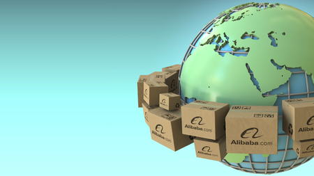 Boxes with Alibaba logo around the world, Europe and Africa emphasized. Conceptual editorial 3D rendering Sajtókép