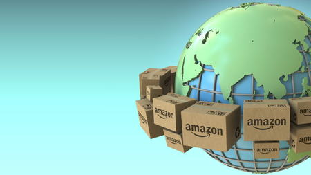 Boxes with AMAZON logo rotate around the world, Asia emphasized. Conceptual editorial 3D rendering