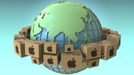Boxes with Apple Inc logo around the world, Asia emphasized. Conceptual editorial 3D rendering