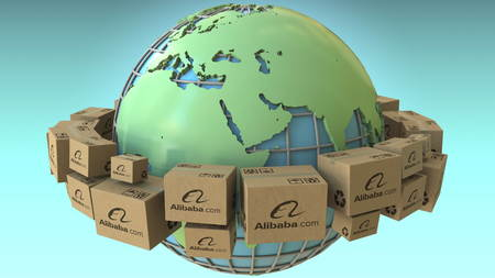 Cartons with Alibaba logo around the world, Europe and Africa emphasized. Conceptual editorial 3D rendering