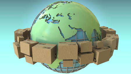 Many boxes rotate around the world, Europe and Africa emphasized. Conceptual 3D rendering