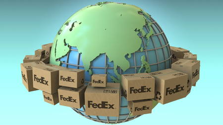 Boxes with FedEx logo around the world, Asia emphasized. Conceptual editorial 3D rendering Editorial