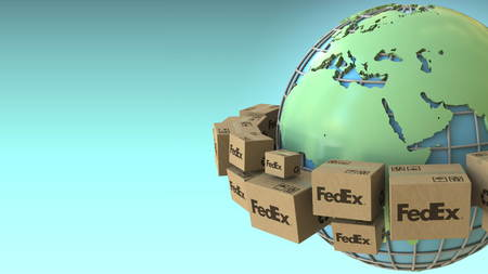 Cartons with FedEx logo around the world, Europe and Africa emphasized. Conceptual editorial 3D rendering