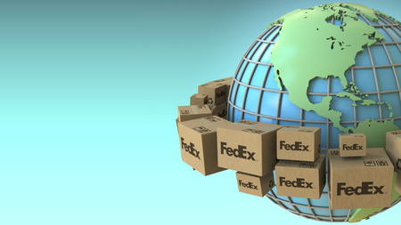 Many boxes with FedEx logo around the world, America emphasized. Conceptual editorial 3D rendering Sajtókép
