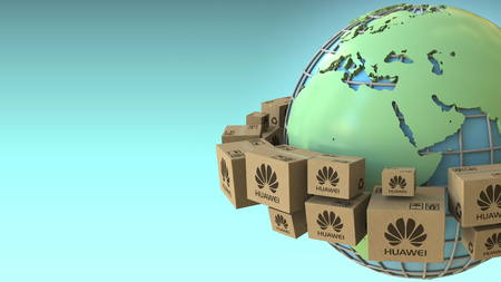 Cartons with Huawei logo around the world, Europe and Africa emphasized. Conceptual editorial 3D rendering