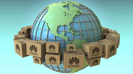 Many cartons with Huawei logo around the world, America emphasized. Conceptual editorial 3D rendering