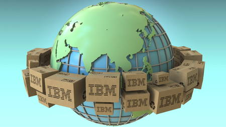 Boxes with IBM logo around the world, Asia emphasized. Conceptual editorial 3D rendering Sajtókép
