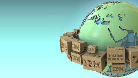 Many boxes with IBM logo around the world, Europe and Africa emphasized. Conceptual editorial 3D rendering 報道画像