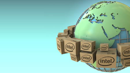 Boxes with Intel logo around the world, Europe and Africa emphasized. Conceptual editorial 3D rendering Editorial
