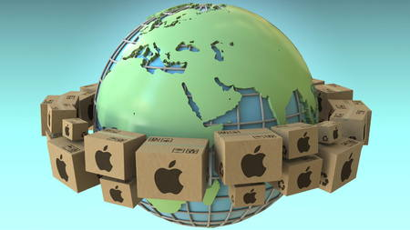 Boxes with Apple Inc logo around the world, Europe and Africa emphasized. Conceptual editorial 3D rendering