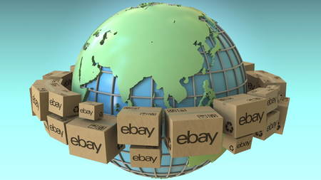 Many cartons with eBay logo around the world, Asia emphasized. Conceptual editorial 3D rendering Editorial