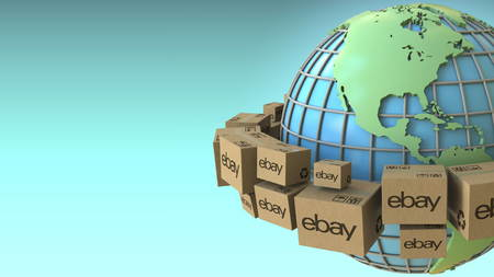Cartons with eBay logo around the world, America emphasized. Conceptual editorial 3D rendering