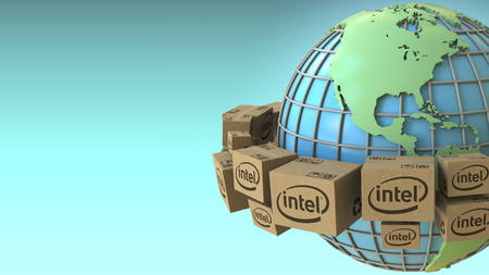 Many cartons with Intel logo around the world, America emphasized. Conceptual editorial 3D rendering