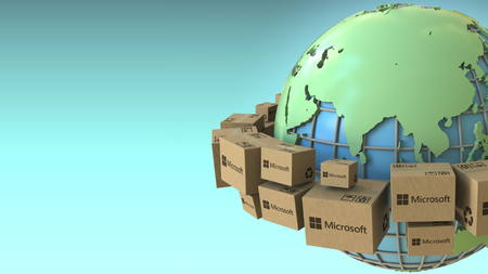 Boxes with Microsoft logo around the world, Asia emphasized. Conceptual editorial 3D rendering