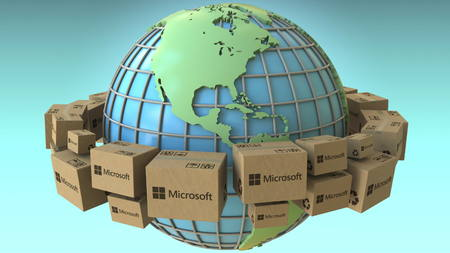 Boxes with Microsoft logo around the world, America emphasized. Conceptual editorial 3D rendering
