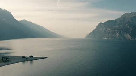 Aerial view to south from the nothern shore of Lago di Garda, the largest lake in Italy Stock Photo