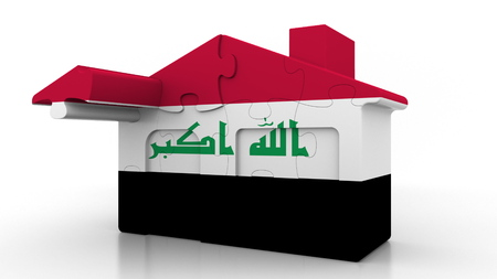 Building puzzle house featuring flag of Iraq. Iraqi emigration, construction or real estate market conceptual 3D rendering