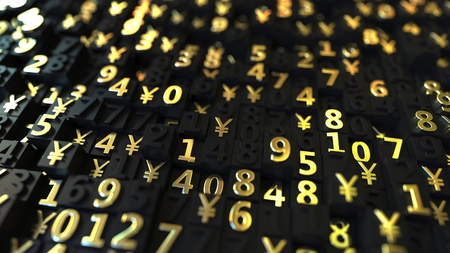 Gold Japanese Yen JPY symbols and numbers on black plates, 3D rendering