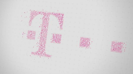 T-Systems logo being made with many numbers. Digital business conceptual editorial 3D rendering