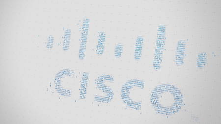 Cisco logo being made with many numbers. Digital business conceptual editorial 3D rendering