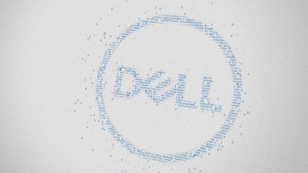 Dell logo being made with many numbers. Digital business conceptual editorial 3D rendering