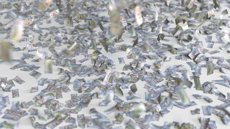 Hundred dollar bills fall on the floor. 3D rendering Stock Photo