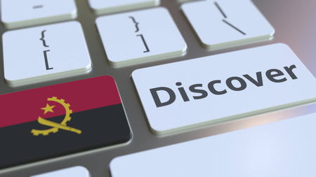 DISCOVER text and flag of Angola on the buttons on the computer keyboard. Conceptual 3D rendering Stock fotó
