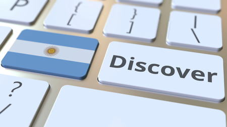 DISCOVER text and flag of Argentina on the buttons on the computer keyboard. Conceptual 3D rendering Stock fotó